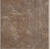 Керамическая плитка Paradyz Клинкер Ilario Brown ступень прямая рифленая структурная 30x30