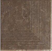 Керамическая плитка Paradyz Клинкер Ilario Brown ступень угловая структурная 30x30
