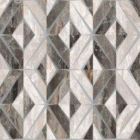 Керамическая плитка Vitra Bergamo Геометрический Микс Декор Теплая гамма Лаппато Ректификат 60х60