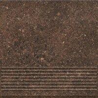 Керамическая плитка Paradyz Клинкер Granitos ступень Brown прямая структурная 30x30