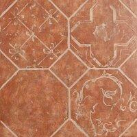 Керамическая плитка ZeusCeramica Octagon Rosso Decorato напольная 45x45