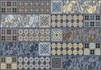 Керамическая плитка Azori Камлот Индиго Креш Декор Эйша 27.8x40.5