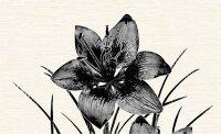 Керамическая плитка Нефрит-Керамика Декор Piano 1 цветок черный 25х40