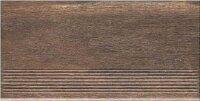 Керамическая плитка Paradyz Клинкер Hazard Brown Ступень прямая структурная 30x60