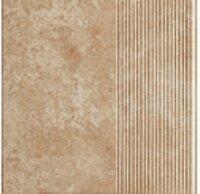 Керамическая плитка Paradyz Клинкер Ilario Beige ступень прямая рифленая структурная 30x30